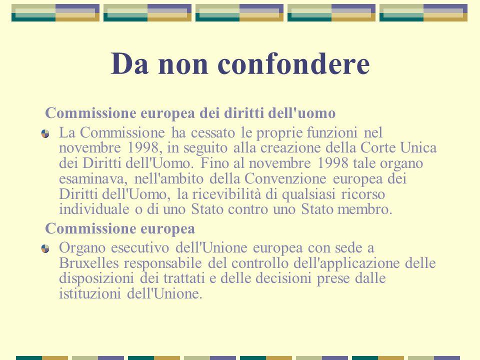 Da non confondere Commissione europea dei diritti dell'uomo La Commissione ha cessato le proprie funzioni nel novembre 1998, in seguito alla creazione