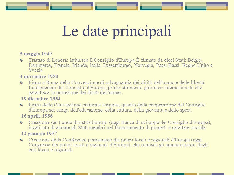 Le date principali 5 maggio 1949 Trattato di Londra: istituisce il Consiglio d'Europa. È firmato da dieci Stati: Belgio, Danimarca, Francia, Irlanda,