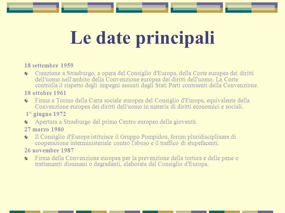 Le date principali 18 settembre 1959 Creazione a Strasburgo, a opera del Consiglio d'Europa, della Corte europea dei diritti dell'uomo nell'ambito del
