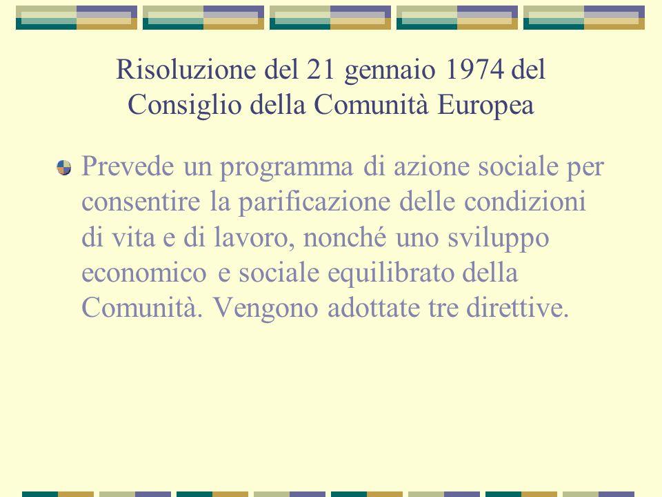 Risoluzione del 21 gennaio 1974 del Consiglio della Comunità Europea Prevede un programma di azione sociale per consentire la parificazione delle cond