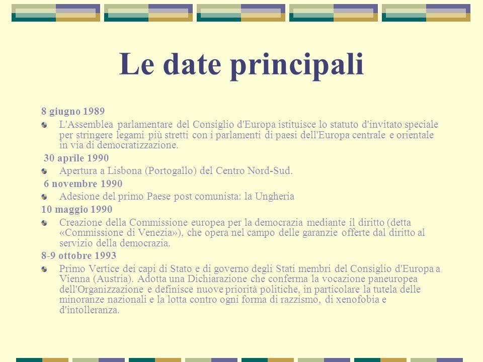 Le date principali 8 giugno 1989 L'Assemblea parlamentare del Consiglio d'Europa istituisce lo statuto d'invitato speciale per stringere legami più st
