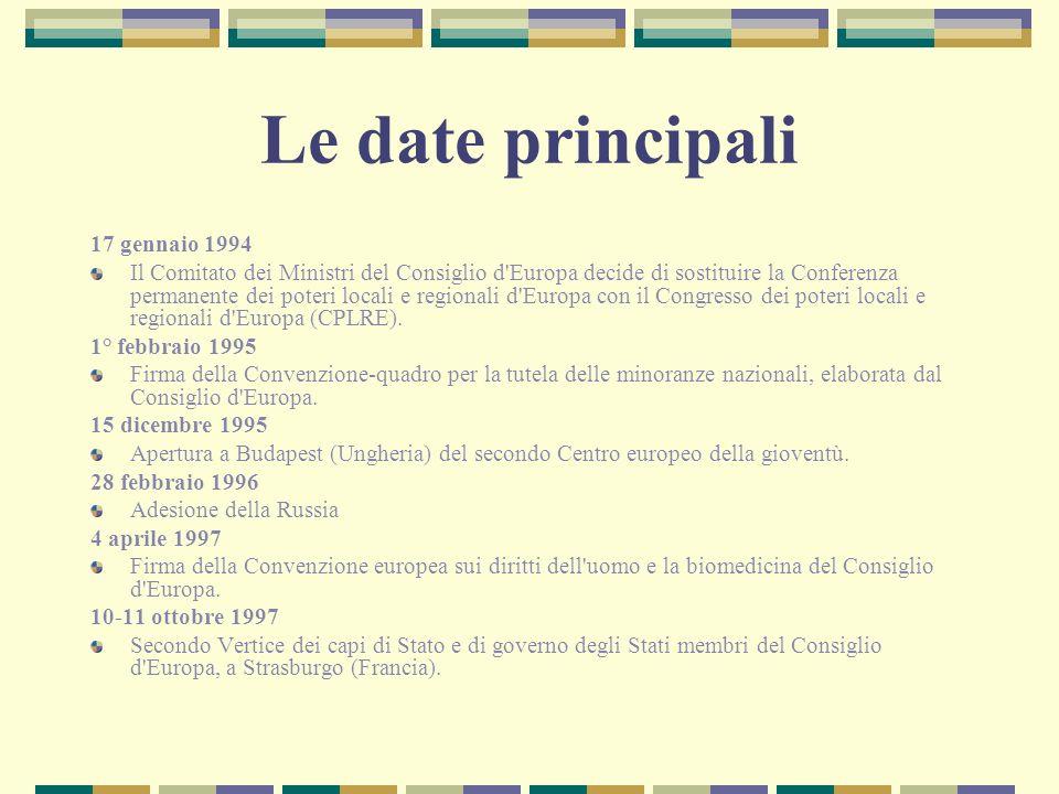 Le date principali 17 gennaio 1994 Il Comitato dei Ministri del Consiglio d'Europa decide di sostituire la Conferenza permanente dei poteri locali e r