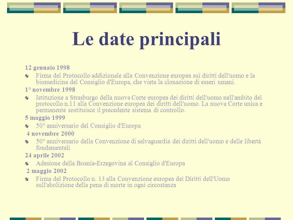 Le date principali 12 gennaio 1998 Firma del Protocollo addizionale alla Convenzione europea sui diritti dell'uomo e la biomedicina del Consiglio d'Eu