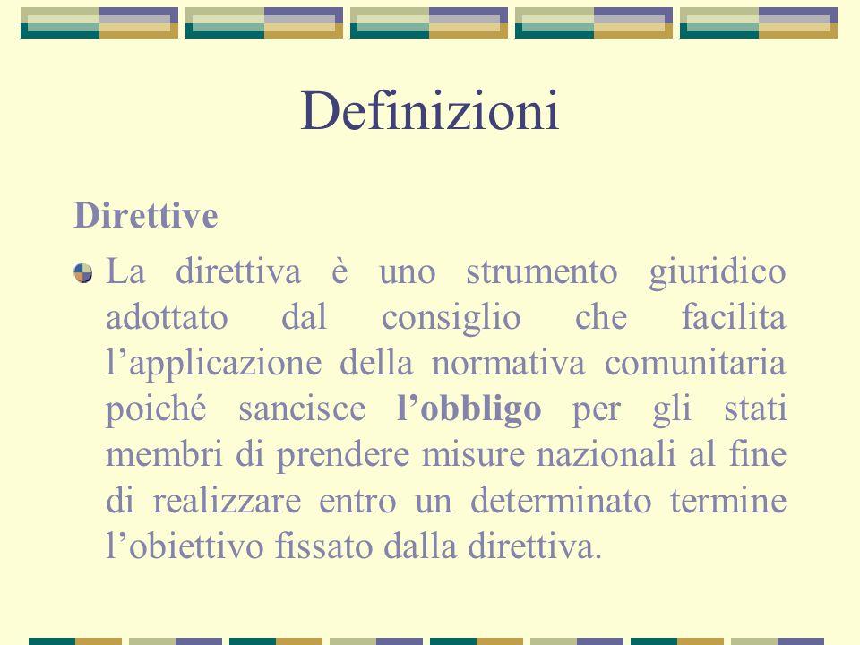 Definizioni Direttive La direttiva è uno strumento giuridico adottato dal consiglio che facilita lapplicazione della normativa comunitaria poiché sanc