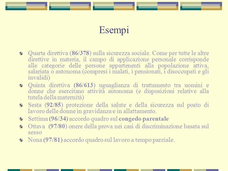 Esempi Quarta direttiva (86/378) sulla sicurezza sociale. Come per tutte le altre direttive in materia, il campo di applicazione personale corrisponde