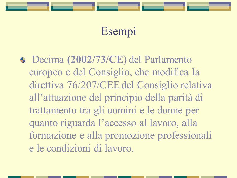 Esempi Decima (2002/73/CE) del Parlamento europeo e del Consiglio, che modifica la direttiva 76/207/CEE del Consiglio relativa allattuazione del princ