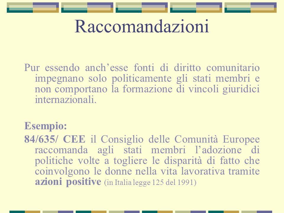 Raccomandazioni Pur essendo anchesse fonti di diritto comunitario impegnano solo politicamente gli stati membri e non comportano la formazione di vinc