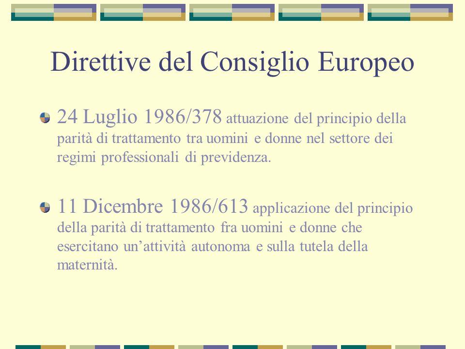 Direttive del Consiglio Europeo 24 Luglio 1986/378 attuazione del principio della parità di trattamento tra uomini e donne nel settore dei regimi prof