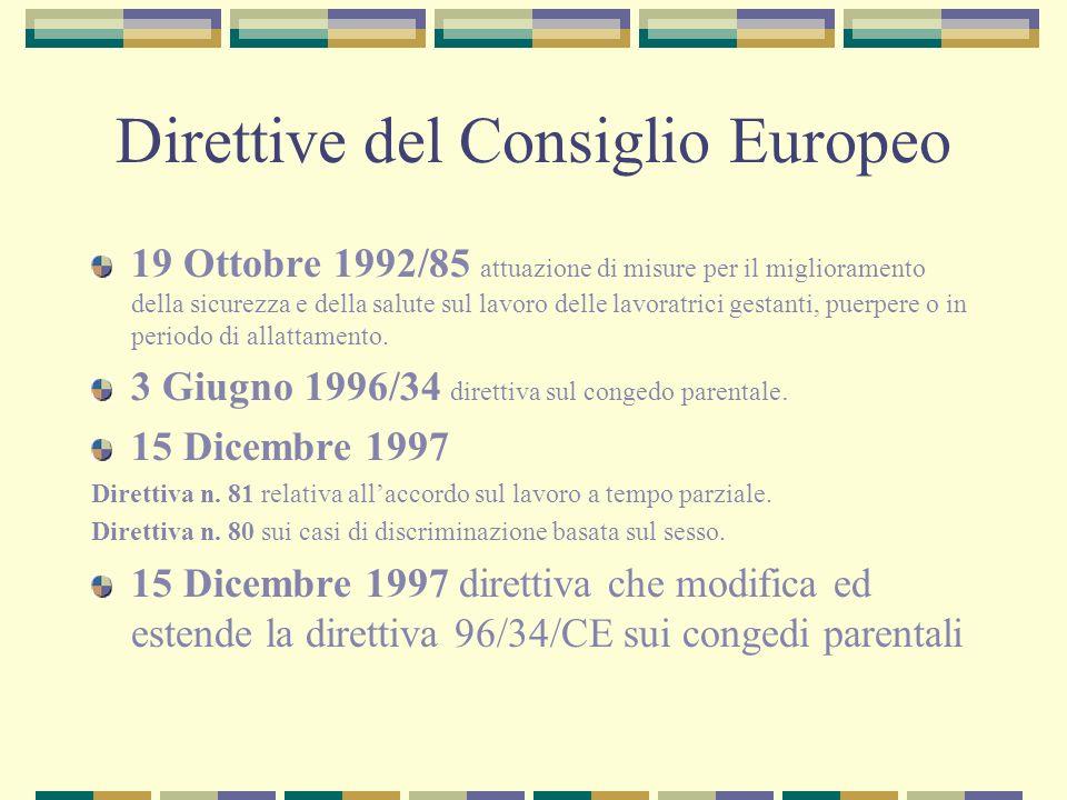 Direttive del Consiglio Europeo 19 Ottobre 1992/85 attuazione di misure per il miglioramento della sicurezza e della salute sul lavoro delle lavoratri