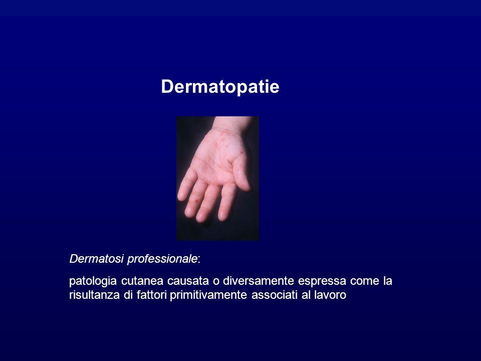 Dermatosi professionale: patologia cutanea causata o diversamente espressa come la risultanza di fattori primitivamente associati al lavoro Dermatopatie