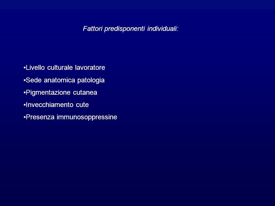Fattori predisponenti individuali: Livello culturale lavoratore Sede anatomica patologia Pigmentazione cutanea Invecchiamento cute Presenza immunosoppressine