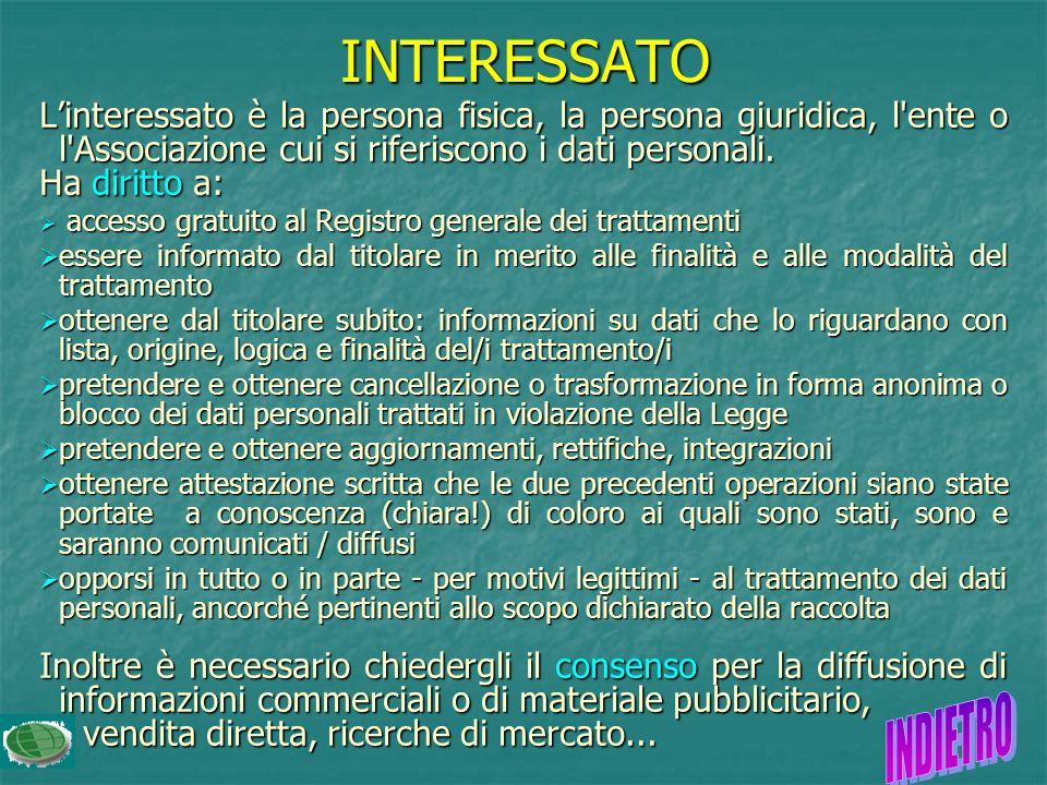 Linteressato è la persona fisica, la persona giuridica, l ente o l Associazione cui si riferiscono i dati personali.