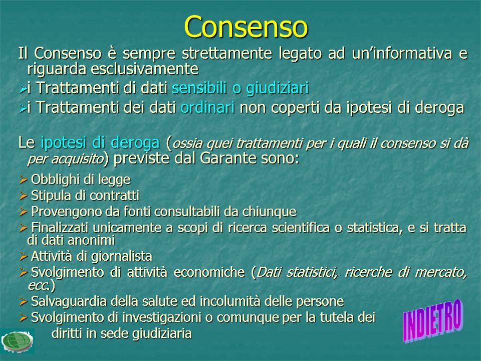 Consenso Il Consenso è sempre strettamente legato ad uninformativa e riguarda esclusivamente i Trattamenti di dati sensibili o giudiziari i Trattamenti di dati sensibili o giudiziari i Trattamenti dei dati ordinari non coperti da ipotesi di deroga i Trattamenti dei dati ordinari non coperti da ipotesi di deroga Le ipotesi di deroga ( ossia quei trattamenti per i quali il consenso si dà per acquisito ) previste dal Garante sono: Obblighi di legge Obblighi di legge Stipula di contratti Stipula di contratti Provengono da fonti consultabili da chiunque Provengono da fonti consultabili da chiunque Finalizzati unicamente a scopi di ricerca scientifica o statistica, e si tratta di dati anonimi Finalizzati unicamente a scopi di ricerca scientifica o statistica, e si tratta di dati anonimi Attività di giornalista Attività di giornalista Svolgimento di attività economiche (Dati statistici, ricerche di mercato, ecc.) Svolgimento di attività economiche (Dati statistici, ricerche di mercato, ecc.) Salvaguardia della salute ed incolumità delle persone Salvaguardia della salute ed incolumità delle persone Svolgimento di investigazioni o comunque per la tutela dei Svolgimento di investigazioni o comunque per la tutela dei diritti in sede giudiziaria diritti in sede giudiziaria