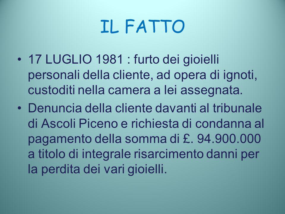 IL FATTO 17 LUGLIO 1981 : furto dei gioielli personali della cliente, ad opera di ignoti, custoditi nella camera a lei assegnata.