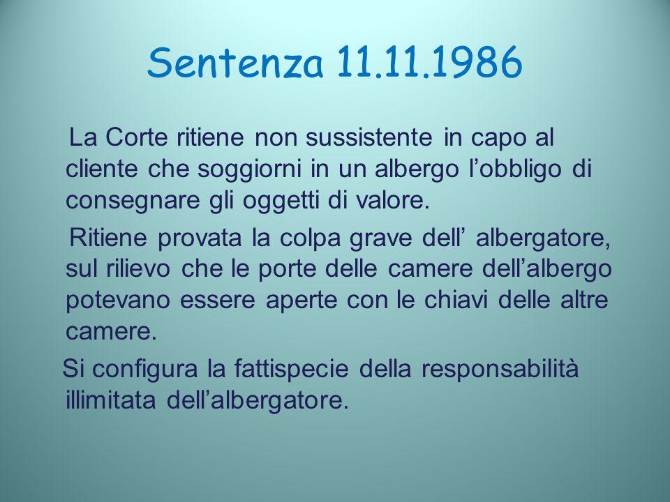Sentenza 11.11.1986 La Corte ritiene non sussistente in capo al cliente che soggiorni in un albergo lobbligo di consegnare gli oggetti di valore.
