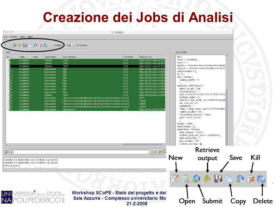 Workshop SCoPE - Stato del progetto e dei Work Packages Sala Azzurra - Complesso universitario Monte SantAngelo 21-2-2008 Creazione dei Jobs di Analis