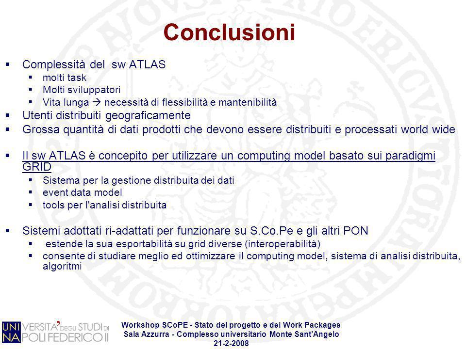 Workshop SCoPE - Stato del progetto e dei Work Packages Sala Azzurra - Complesso universitario Monte SantAngelo 21-2-2008 Conclusioni Complessità del