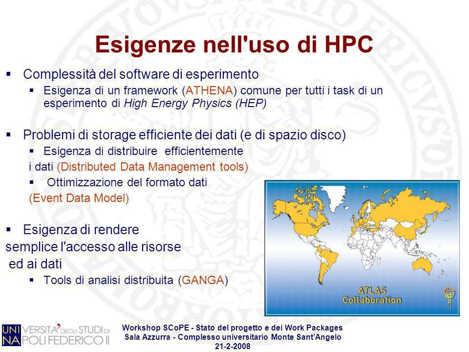 Workshop SCoPE - Stato del progetto e dei Work Packages Sala Azzurra - Complesso universitario Monte SantAngelo 21-2-2008 Esigenze nell'uso di HPC Com