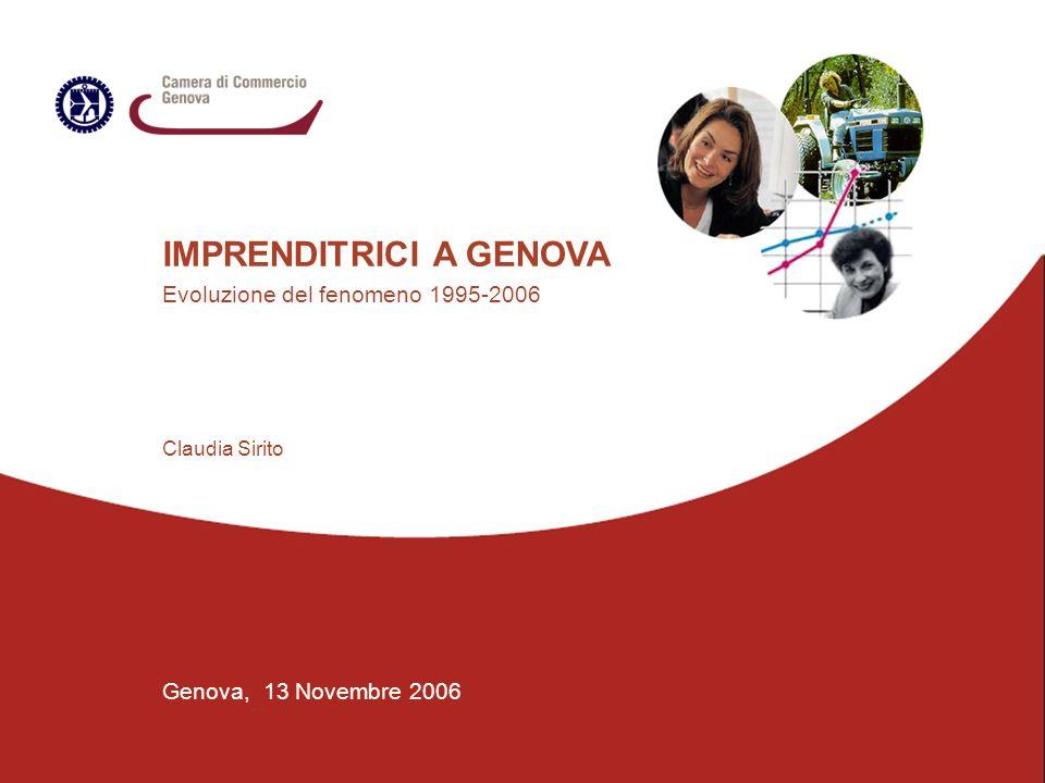 IMPRENDITRICI A GENOVA Evoluzione del fenomeno 1995-2006 Genova, 13 Novembre 2006 Claudia Sirito