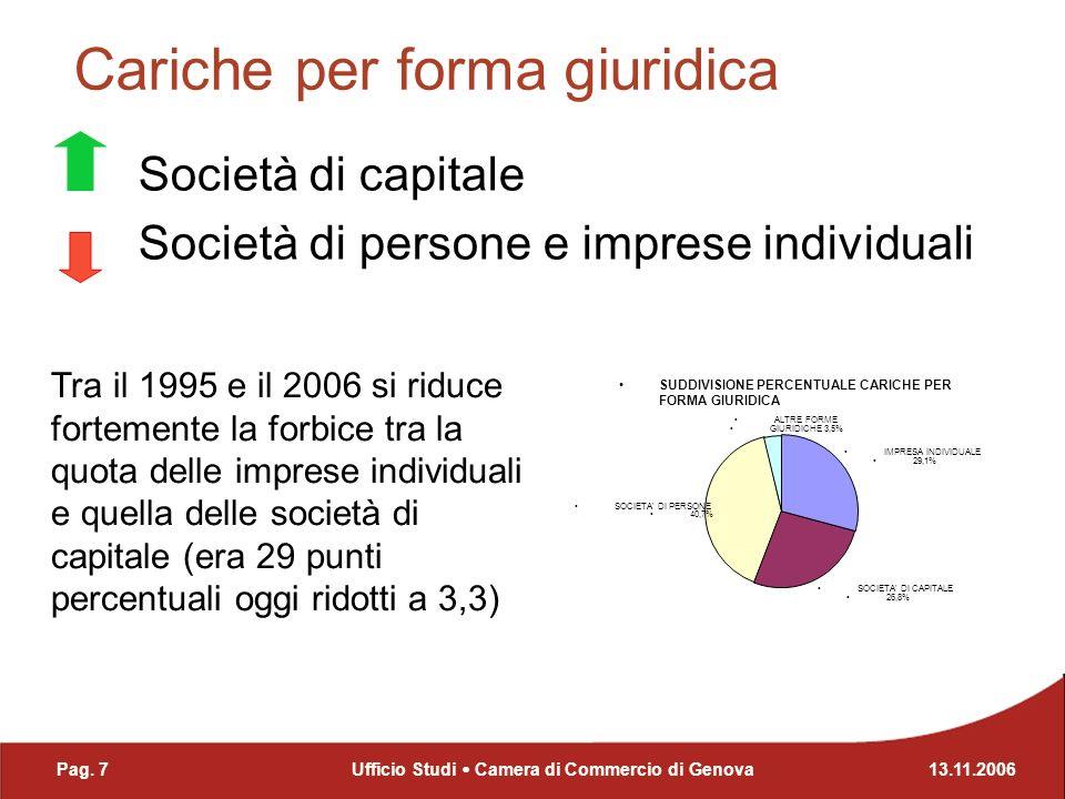 Cariche per settore Forte presenza del terziario che nel 2006 raggruppa il 78,4% del totale delle cariche SUDDIVISIONE PERCENTUALE CARICHE PER SETTORE Agr i coltura 3,7% Ind / Art 17,1% Commercio 35,2% Servizi 32,0% Turismo 11,1% Altro 0,7% Pag.
