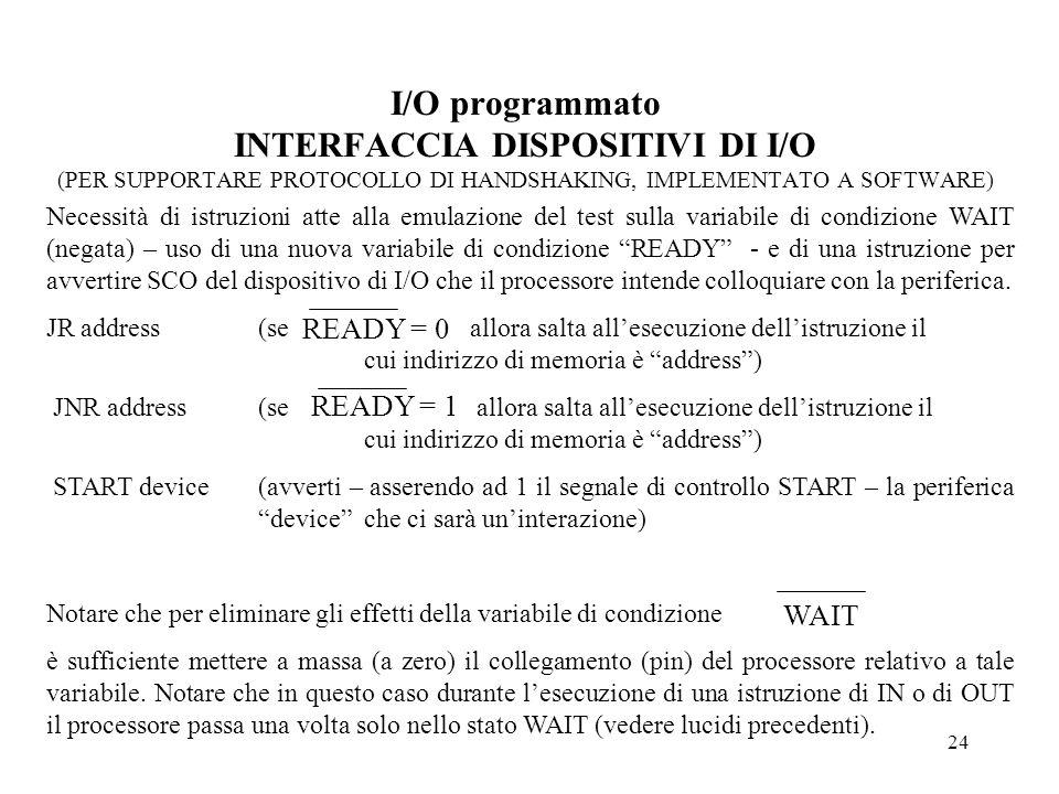 24 I/O programmato INTERFACCIA DISPOSITIVI DI I/O (PER SUPPORTARE PROTOCOLLO DI HANDSHAKING, IMPLEMENTATO A SOFTWARE) Necessità di istruzioni atte all