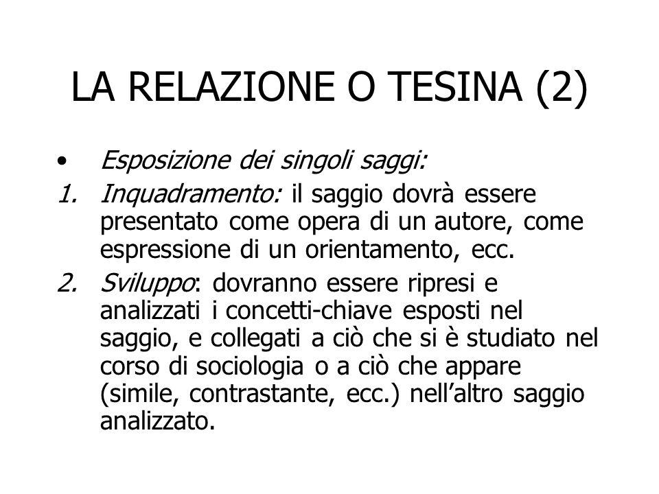 LA RELAZIONE O TESINA (2) Esposizione dei singoli saggi: 1.Inquadramento: il saggio dovrà essere presentato come opera di un autore, come espressione