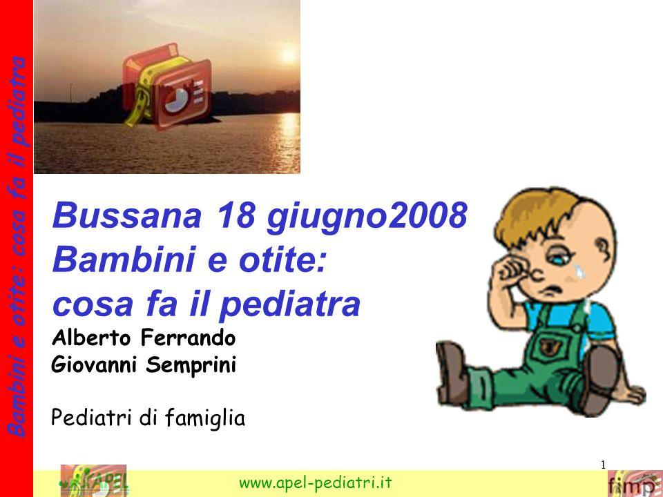 1 Bambini e otite: cosa fa il pediatra www.apel-pediatri.it Bussana 18 giugno2008 Bambini e otite: cosa fa il pediatra Alberto Ferrando Giovanni Sempr
