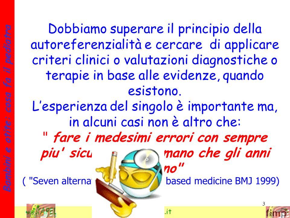 3 Bambini e otite: cosa fa il pediatra www.apel-pediatri.it Dobbiamo superare il principio della autoreferenzialità e cercare di applicare criteri cli