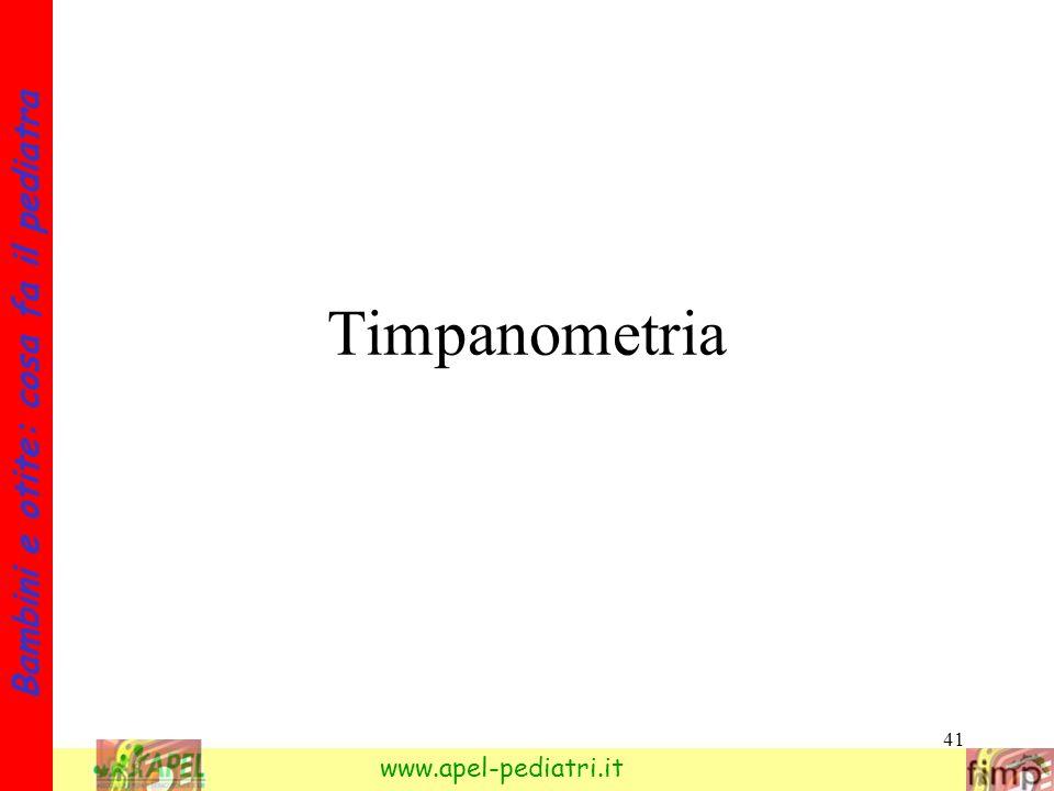 41 Bambini e otite: cosa fa il pediatra www.apel-pediatri.it Timpanometria
