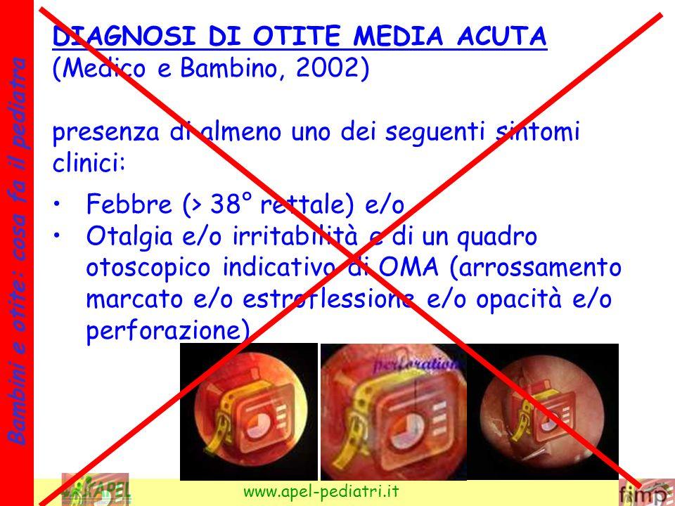 9 Bambini e otite: cosa fa il pediatra www.apel-pediatri.it DIAGNOSI DI OTITE MEDIA ACUTA (Medico e Bambino, 2002) presenza di almeno uno dei seguenti