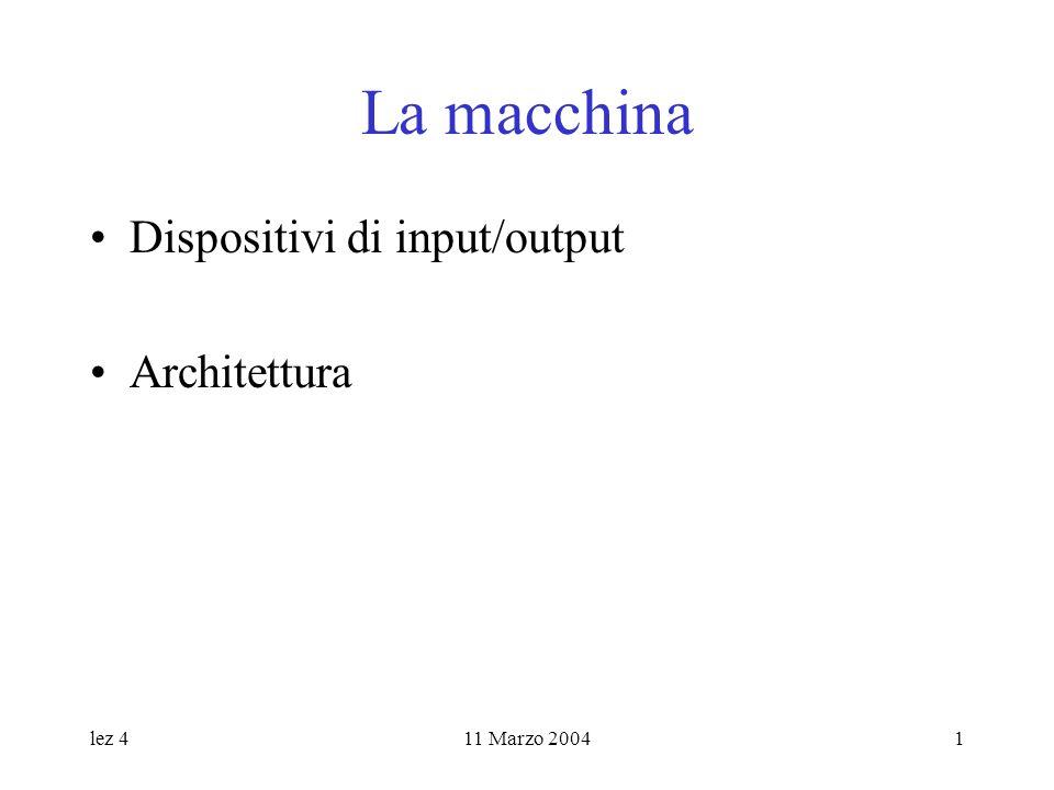 lez 411 Marzo 20041 La macchina Dispositivi di input/output Architettura