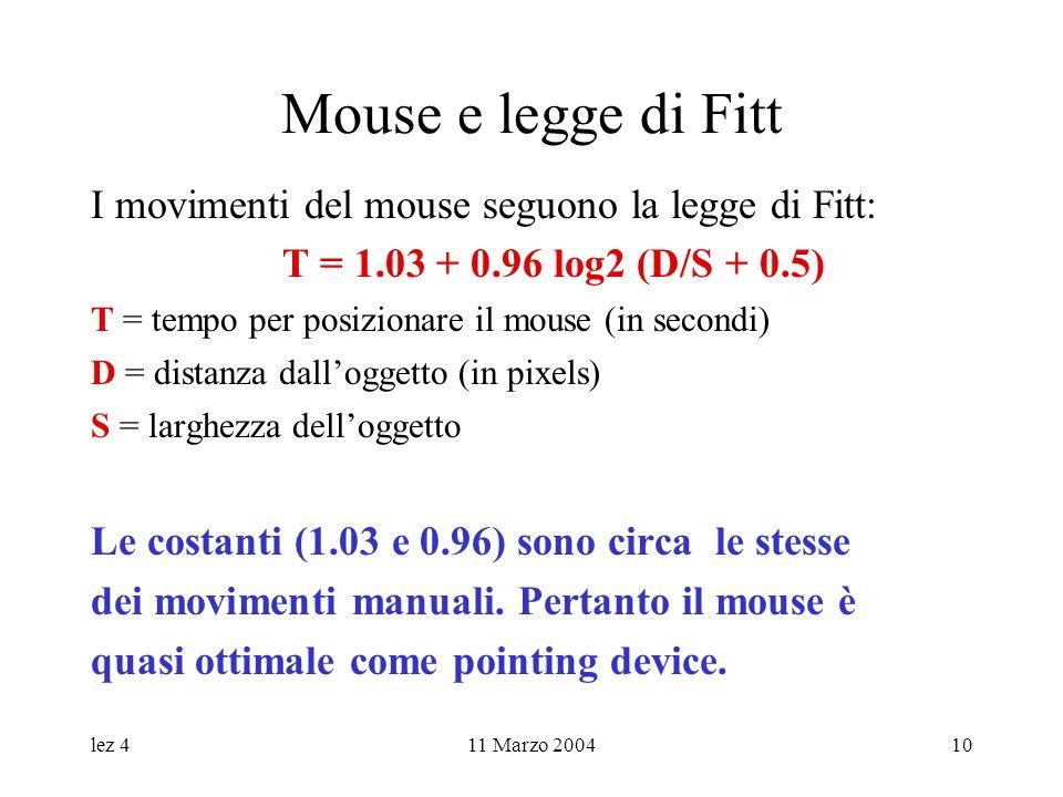 lez 411 Marzo 200410 Mouse e legge di Fitt I movimenti del mouse seguono la legge di Fitt: T = 1.03 + 0.96 log2 (D/S + 0.5) T = tempo per posizionare