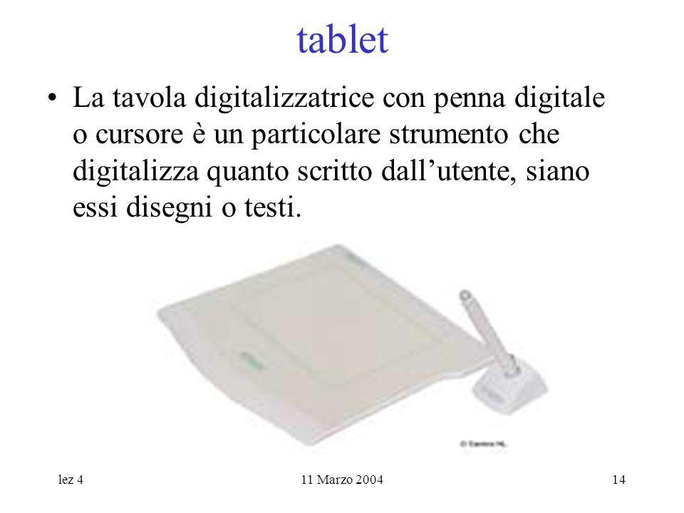lez 411 Marzo 200414 tablet La tavola digitalizzatrice con penna digitale o cursore è un particolare strumento che digitalizza quanto scritto dallutente, siano essi disegni o testi.