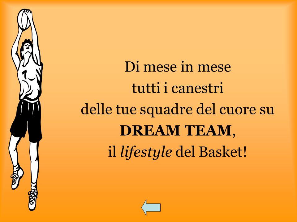 Di mese in mese tutti i canestri delle tue squadre del cuore su DREAM TEAM, il lifestyle del Basket!