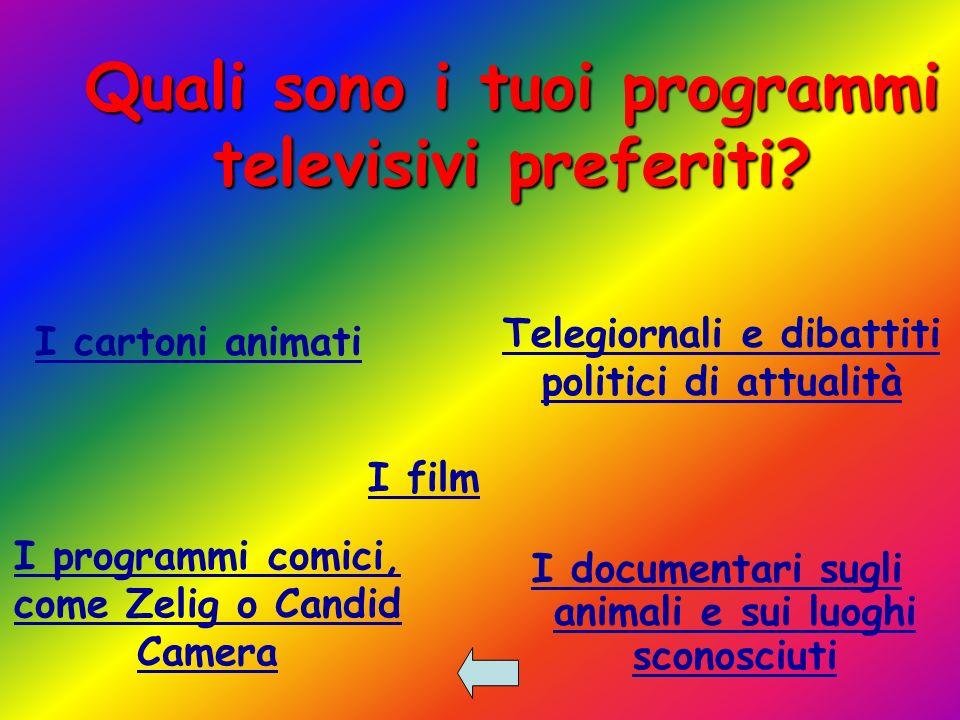 Quali sono i tuoi programmi televisivi preferiti.