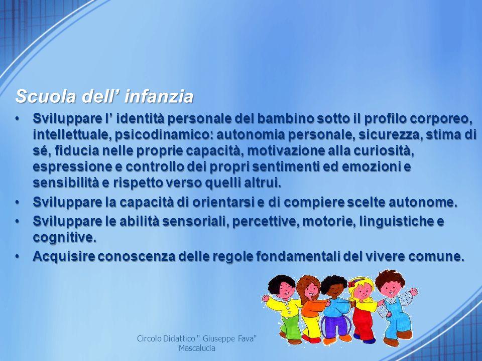 Scuola dell infanzia Sviluppare l identità personale del bambino sotto il profilo corporeo, intellettuale, psicodinamico: autonomia personale, sicurez