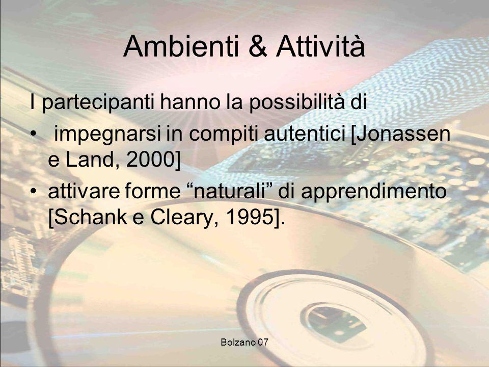 Bolzano 07 Ambienti & Attività I partecipanti hanno la possibilità di impegnarsi in compiti autentici [Jonassen e Land, 2000] attivare forme naturali di apprendimento [Schank e Cleary, 1995].