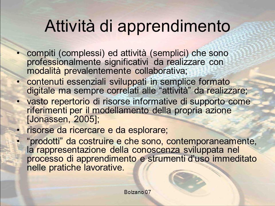 Bolzano 07 Attività di apprendimento compiti (complessi) ed attività (semplici) che sono professionalmente significativi da realizzare con modalità pr