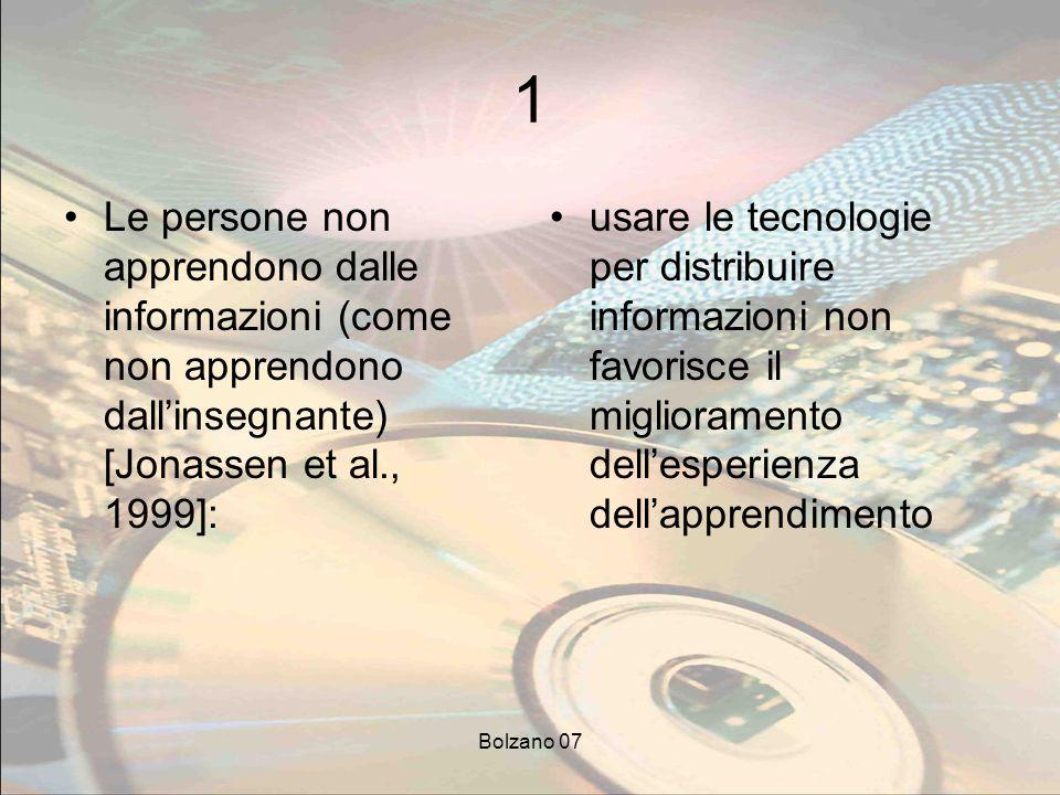 Bolzano 07 1 Le persone non apprendono dalle informazioni (come non apprendono dallinsegnante) [Jonassen et al., 1999]: usare le tecnologie per distri