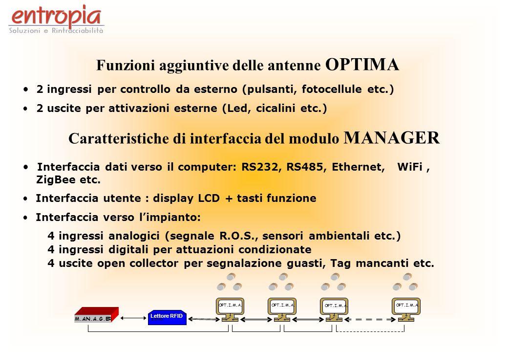 Funzioni aggiuntive delle antenne OPTIMA 2 ingressi per controllo da esterno (pulsanti, fotocellule etc.) 2 uscite per attivazioni esterne (Led, cical