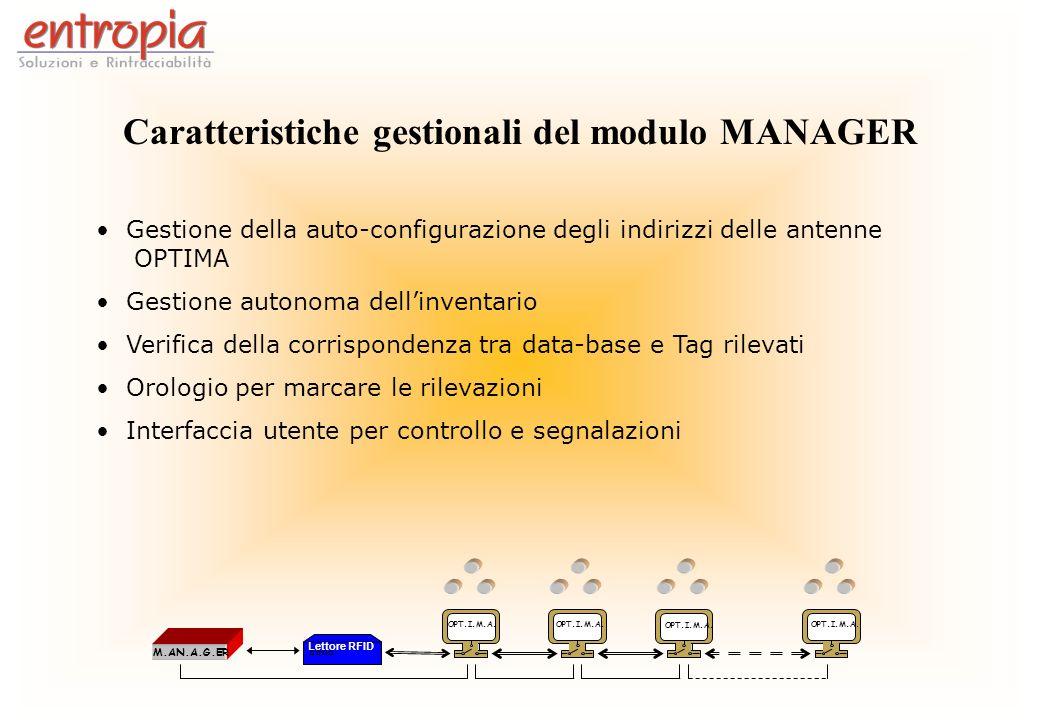 Caratteristiche gestionali del modulo MANAGER Gestione della auto-configurazione degli indirizzi delle antenne OPTIMA Gestione autonoma dellinventario