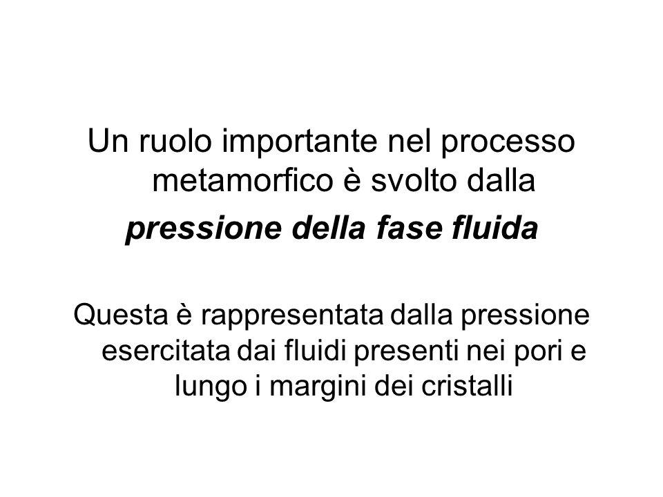 Un ruolo importante nel processo metamorfico è svolto dalla pressione della fase fluida Questa è rappresentata dalla pressione esercitata dai fluidi p