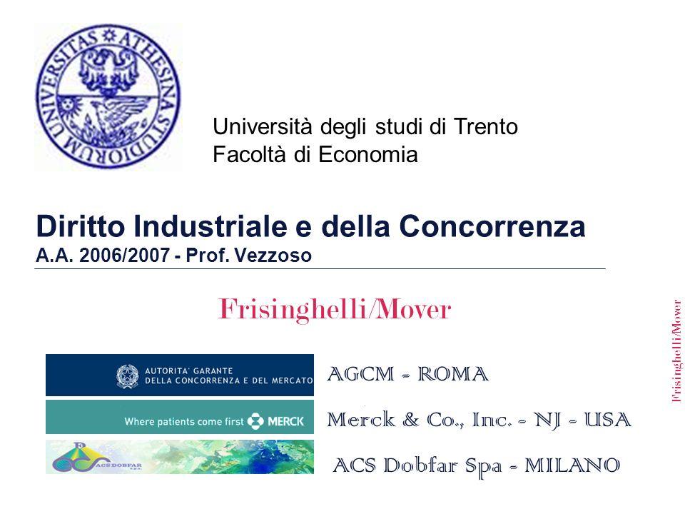 Frisinghelli/Mover Università degli studi di Trento Facoltà di Economia Merck & Co., Inc. - NJ - USA AGCM - ROMA ACS Dobfar Spa - MILANO Diritto Indus