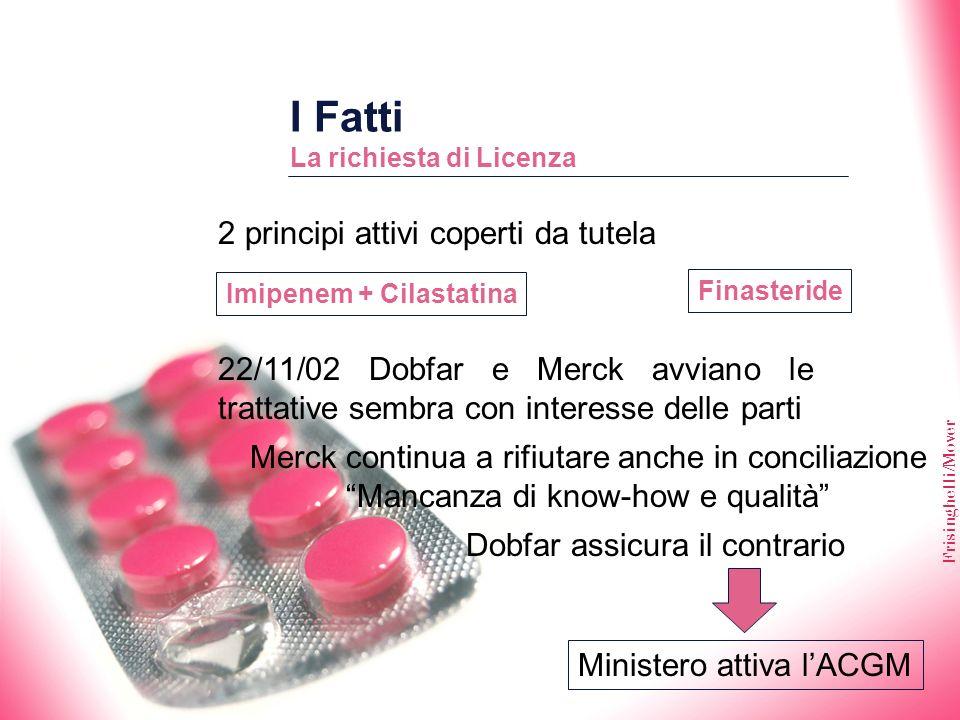Frisinghelli/Mover I Fatti La richiesta di Licenza 22/11/02 Dobfar e Merck avviano le trattative sembra con interesse delle parti Merck continua a rif
