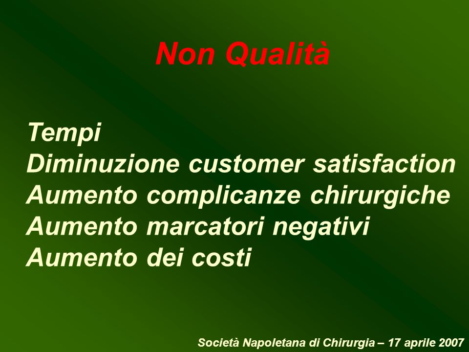 Non Qualità Tempi Diminuzione customer satisfaction Aumento complicanze chirurgiche Aumento marcatori negativi Aumento dei costi Società Napoletana di