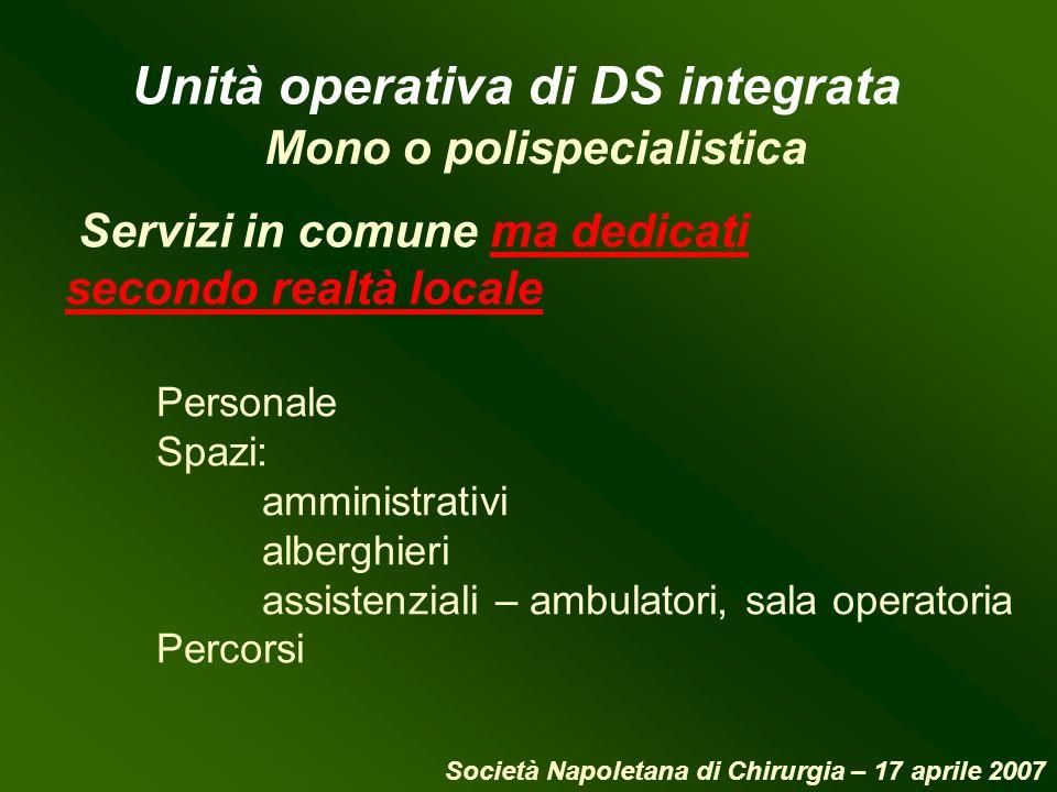 Servizi in comune ma dedicati secondo realtà locale Mono o polispecialistica Unità operativa di DS integrata Personale Spazi: amministrativi alberghie