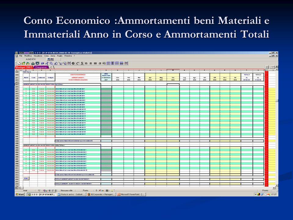 Conto Economico :Ammortamenti beni Materiali e Immateriali Anno in Corso e Ammortamenti Totali