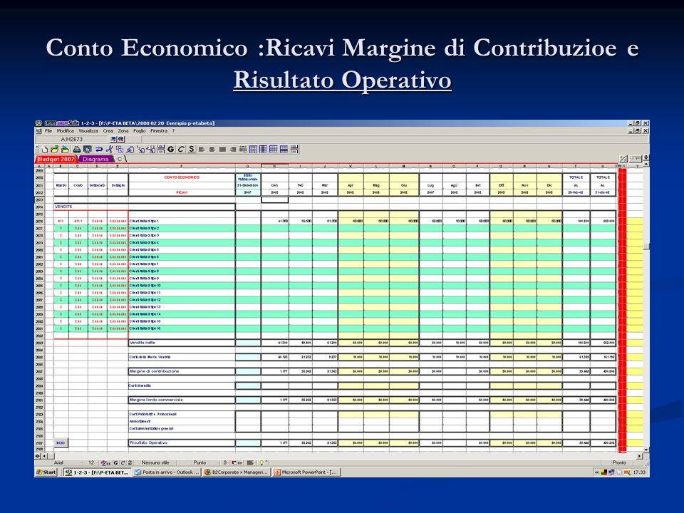 Conto Economico :Ricavi Margine di Contribuzioe e Risultato Operativo