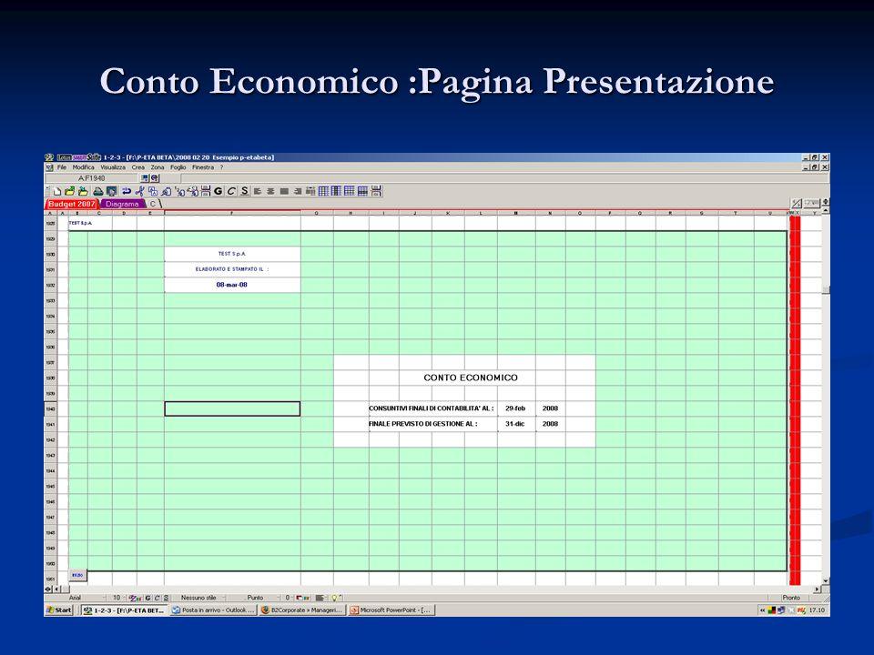 Conto Economico :Pagina Presentazione