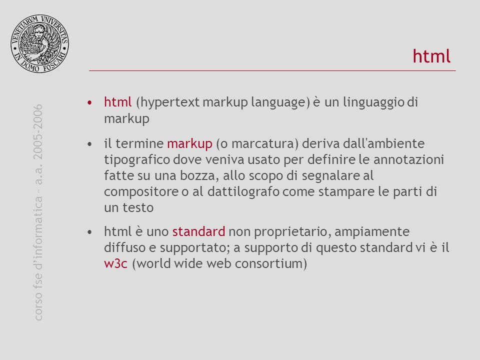 corso fse dinformatica – a.a. 2005-2006 html html (hypertext markup language) è un linguaggio di markup il termine markup (o marcatura) deriva dall'am